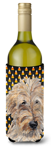 Buy this Goldendoodle Halloween Candy Corn Wine Bottle Beverage Insulator Beverage Insulator Hugger
