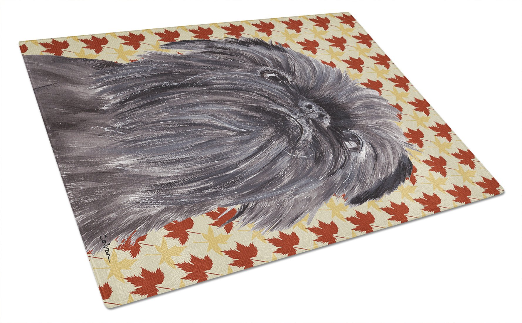 Brussels Griffon Fall Leaves Glass Cutting Board Large by Caroline's Treasures
