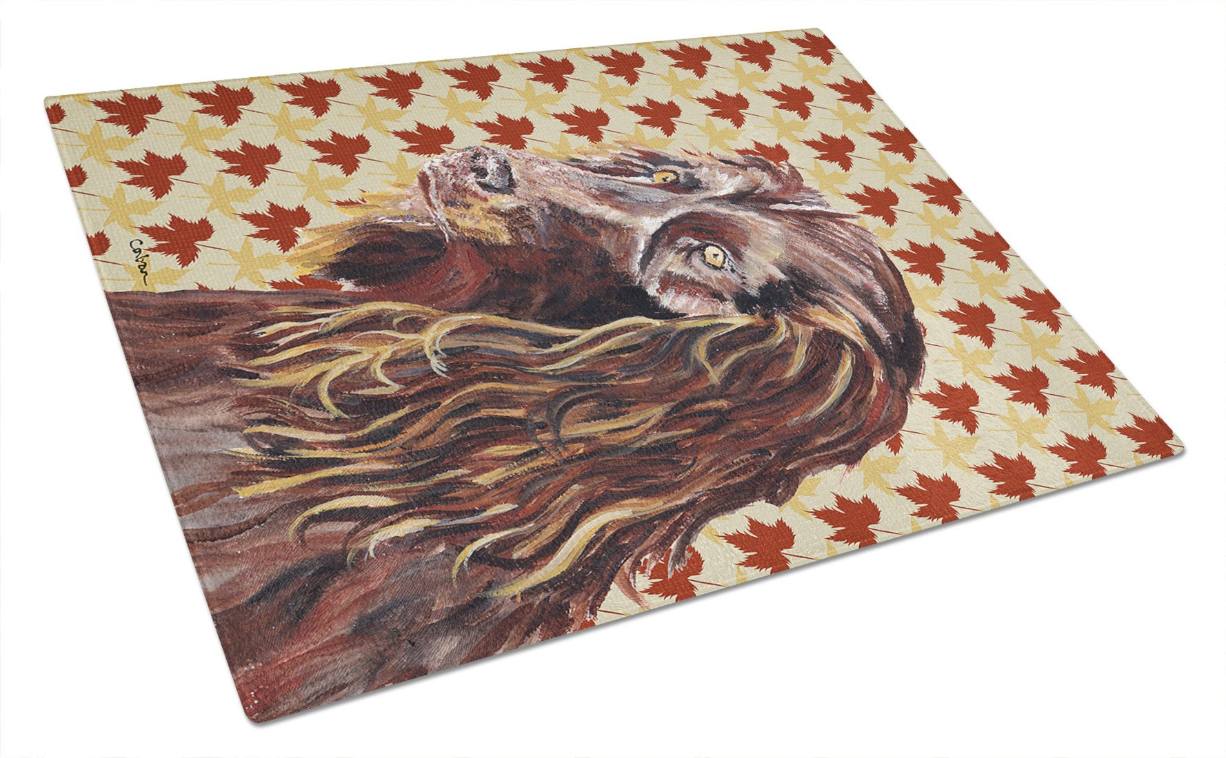 Boykin Spaniel Fall Leaves Glass Cutting Board Large by Caroline's Treasures