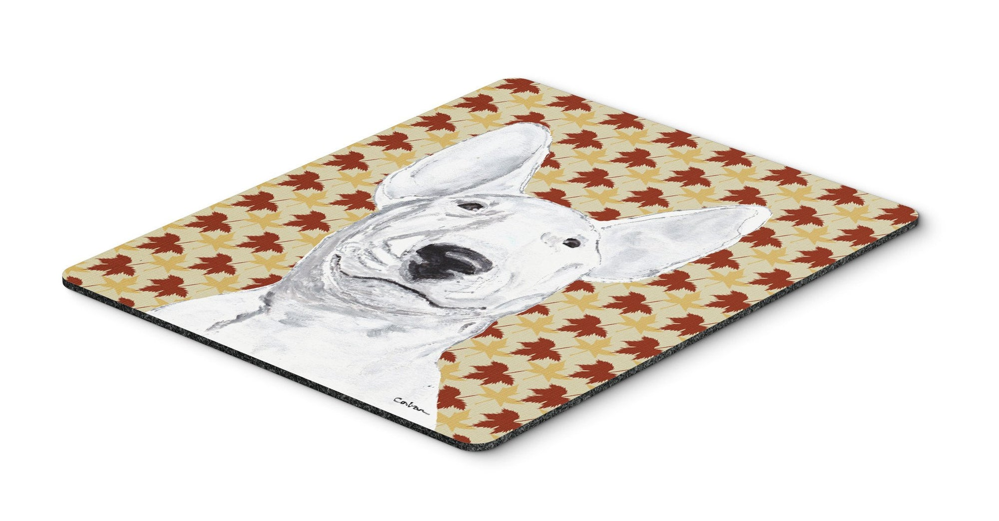 Bull Terrier Fall Leaves Mouse Pad, Hot Pad or Trivet by Caroline's Treasures