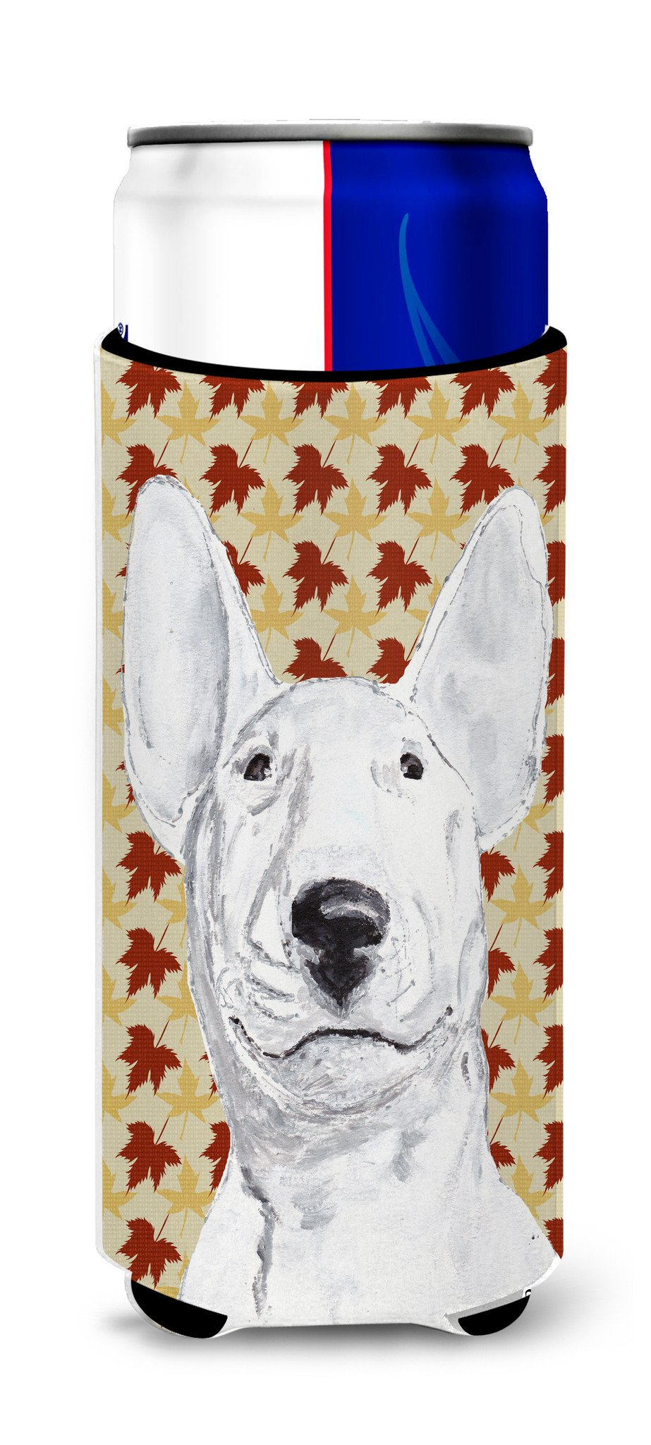 Bull Terrier Fall Leaves Ultra Beverage Insulators for slim cans by Caroline's Treasures