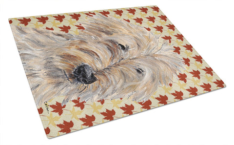 Buy this Goldendoodle Fall Leaves Glass Cutting Board Large