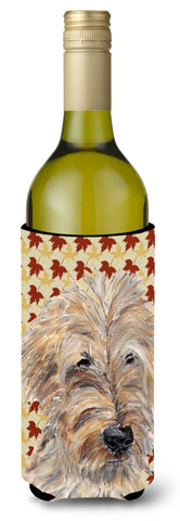 Buy this Goldendoodle Fall Leaves Wine Bottle Beverage Insulator Beverage Insulator Hugger