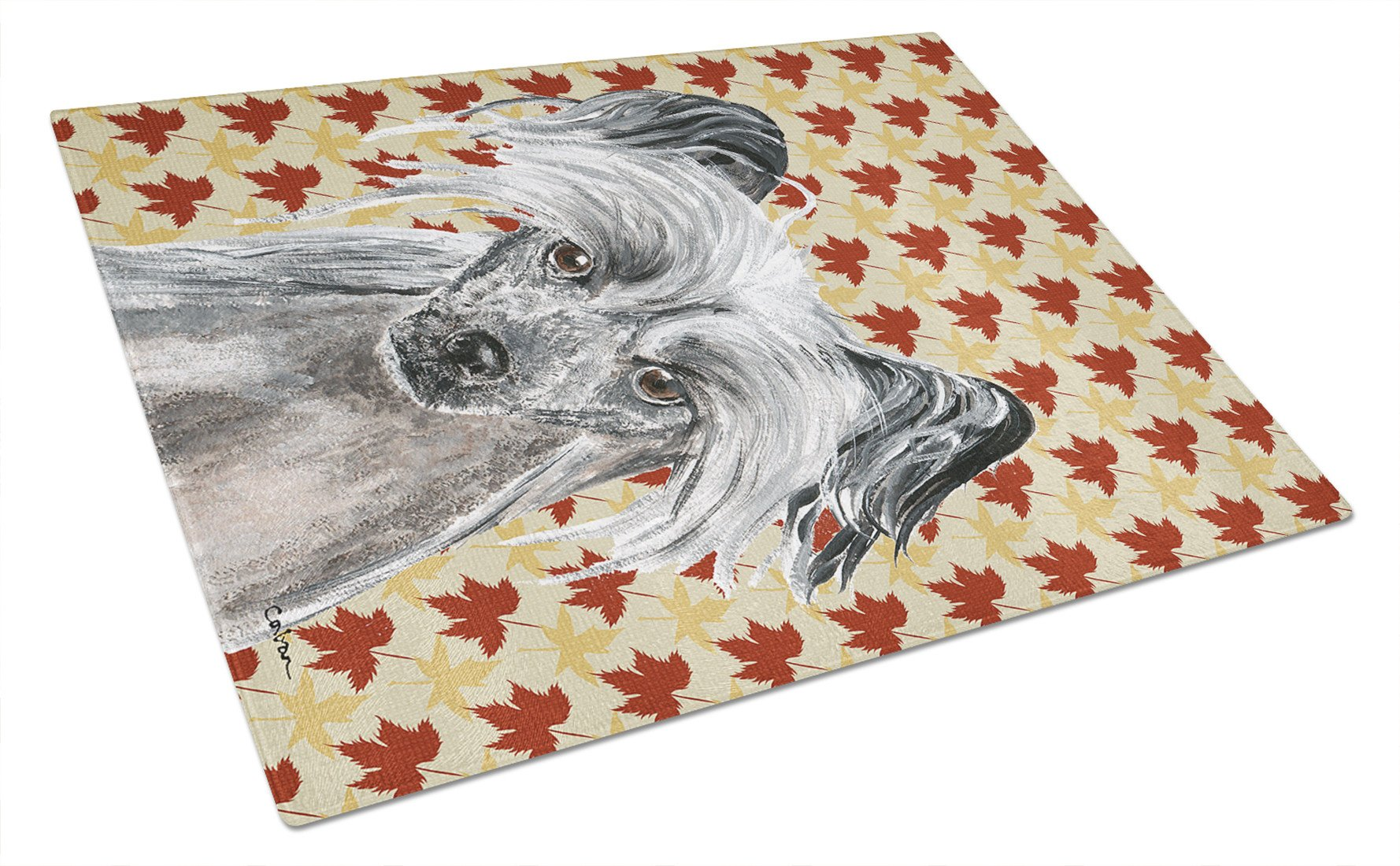 Chinese Crested Fall Leaves Glass Cutting Board Large by Caroline's Treasures