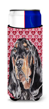 Coonhound Valentine's Love Ultra Beverage Insulators for slim cans by Caroline's Treasures