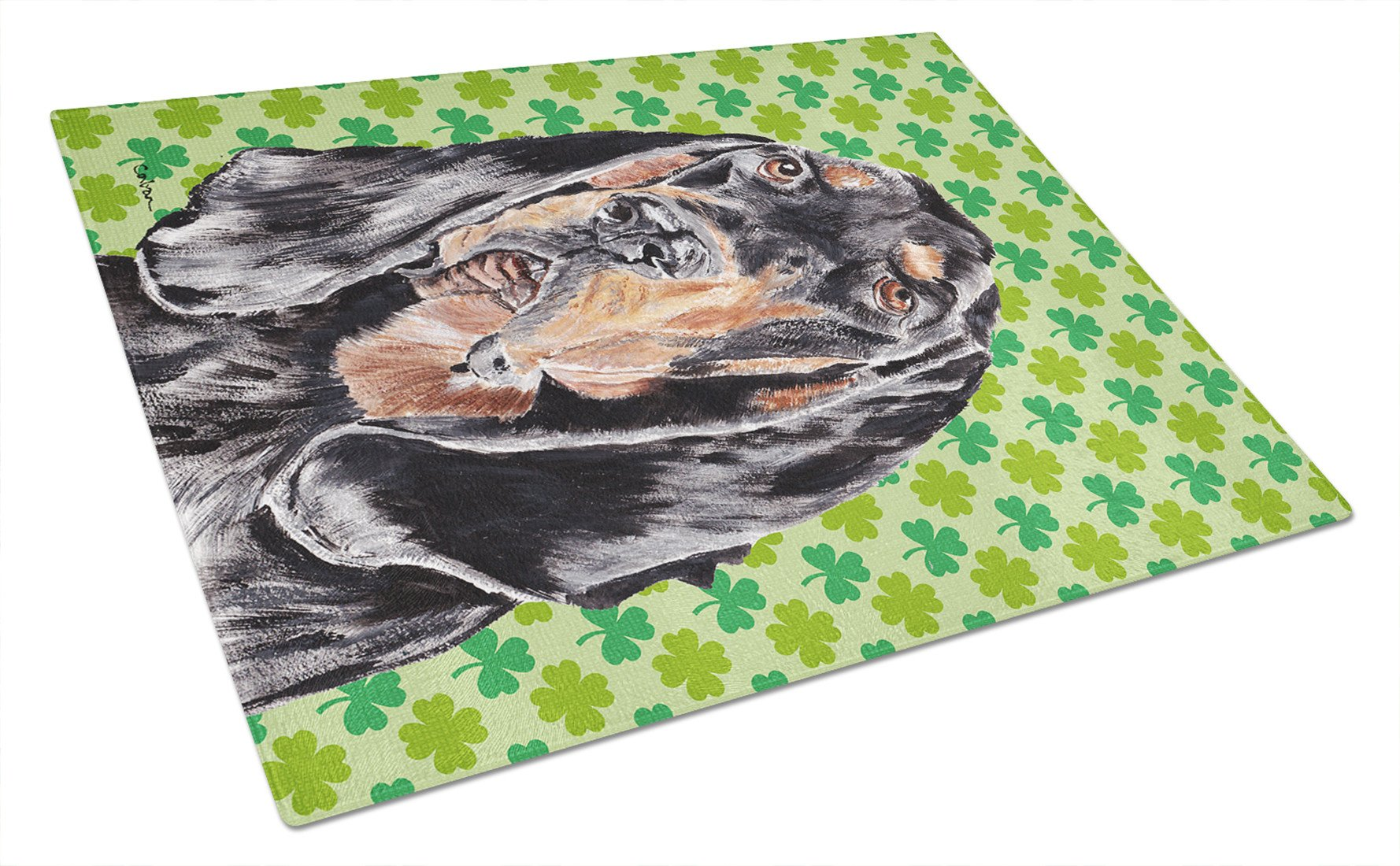 Coonhound St Patrick's Irish Glass Cutting Board Large by Caroline's Treasures