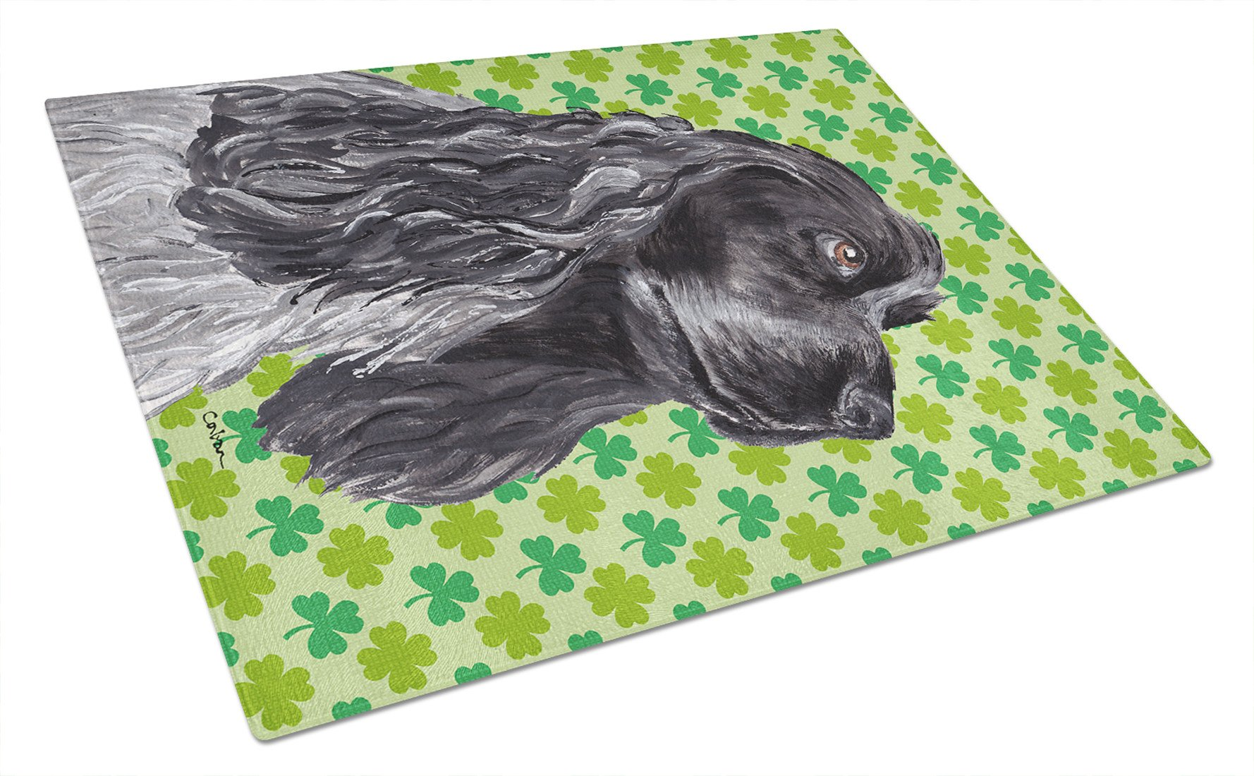 Cocker Spaniel St Patrick's Irish Glass Cutting Board Large by Caroline's Treasures