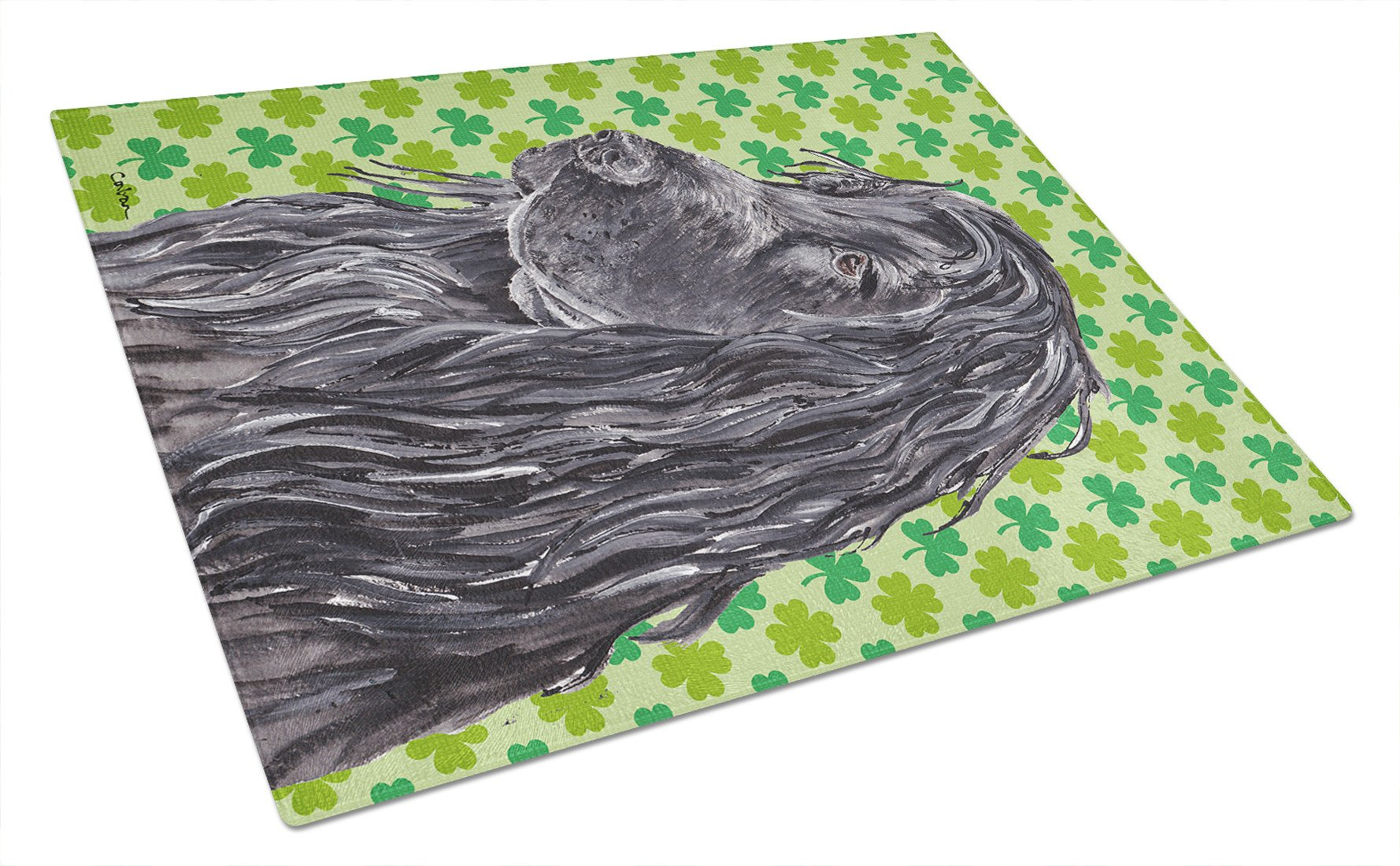 English Cocker Spaniel St Patrick's Irish Glass Cutting Board Large by Caroline's Treasures