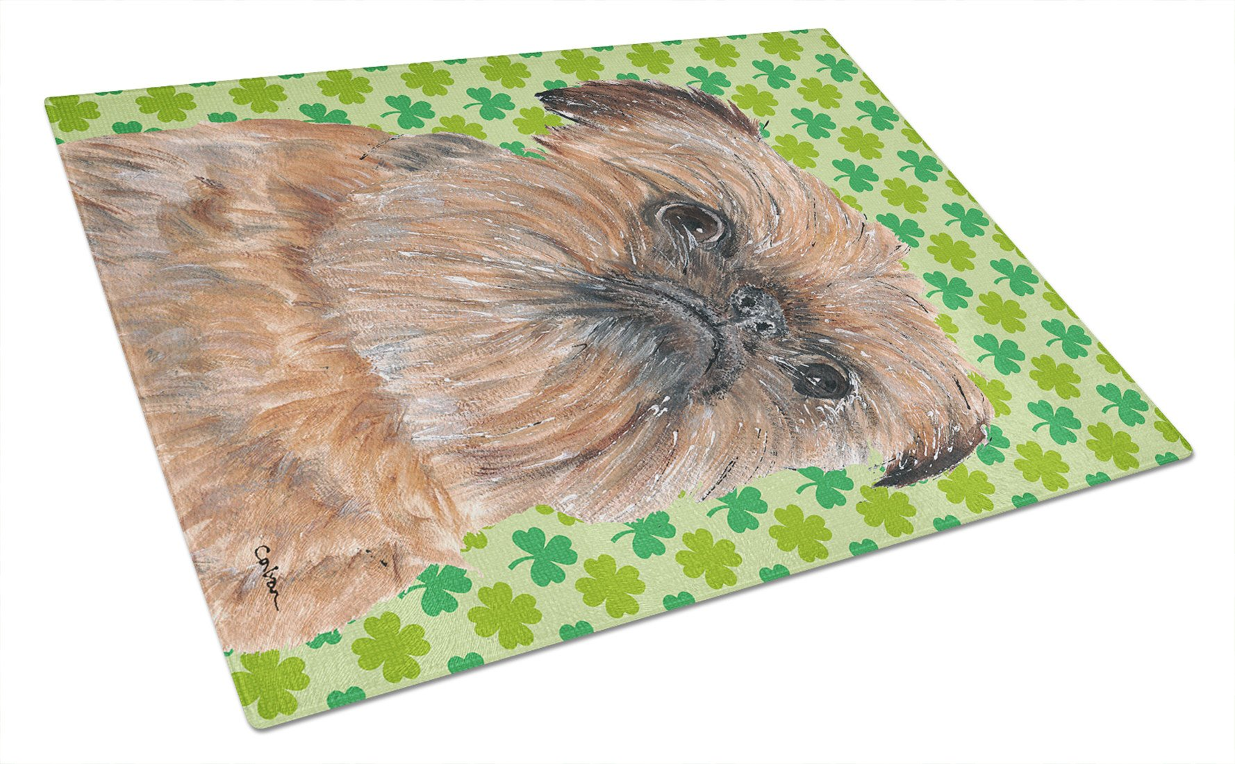 Brussels Griffon St Patrick's Irish Glass Cutting Board Large by Caroline's Treasures