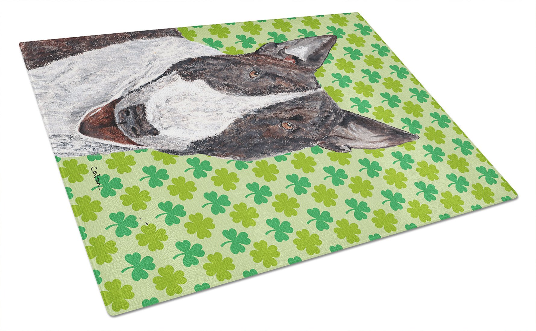 Bull Terrier St Patrick's Irish Glass Cutting Board Large by Caroline's Treasures