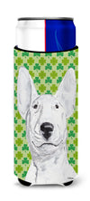 Bull Terrier St Patrick's Irish Ultra Beverage Insulators for slim cans by Caroline's Treasures