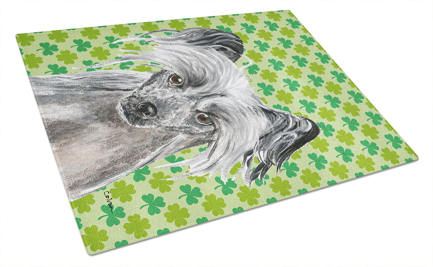 Chinese Crested St Patrick's Irish Glass Cutting Board Large by Caroline's Treasures