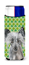 Chinese Crested St Patrick's Irish Ultra Beverage Insulators for slim cans by Caroline's Treasures