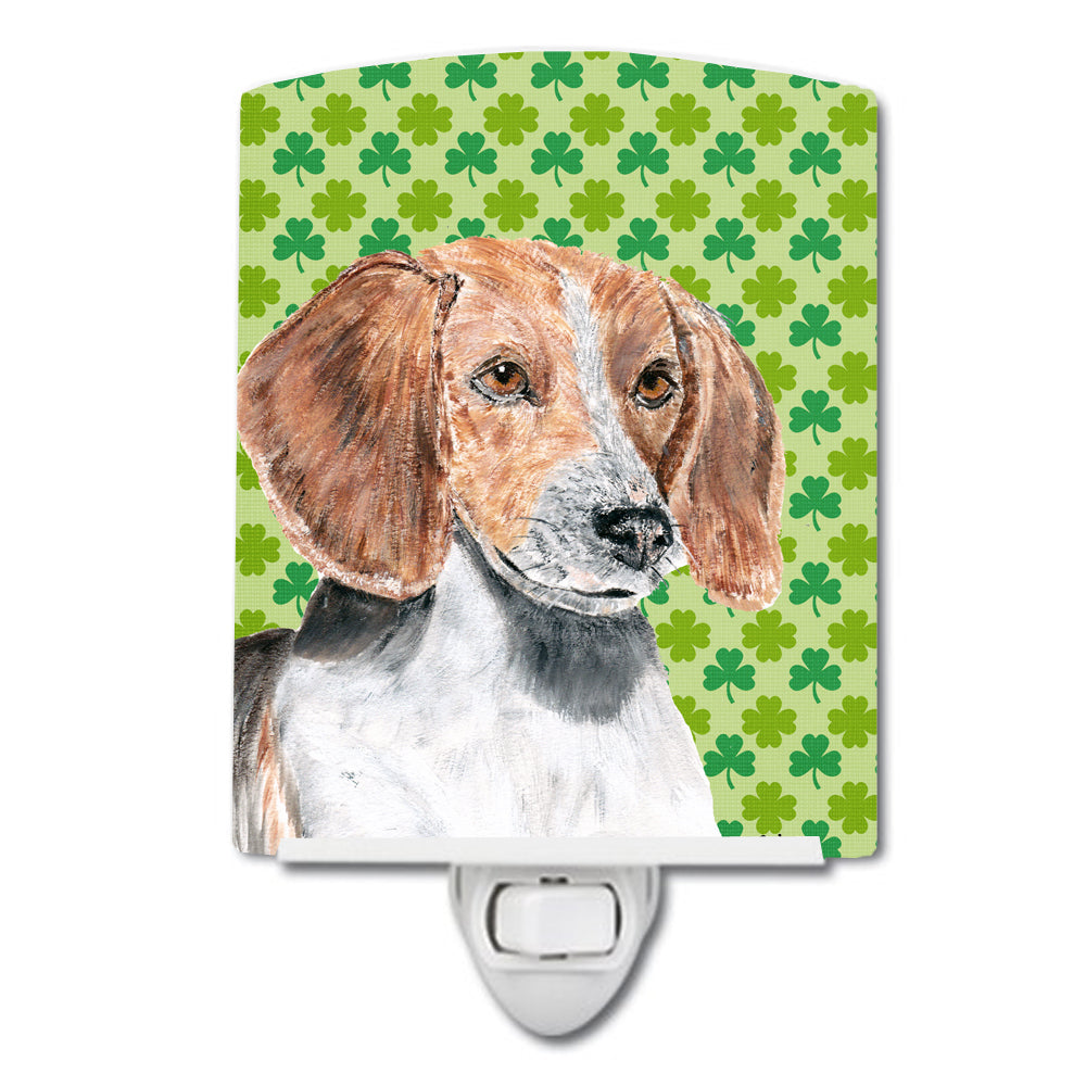 English Foxhound Lucky Shamrock St. Patrick's Day Ceramic Night Light SC9579CNL by Caroline's Treasures