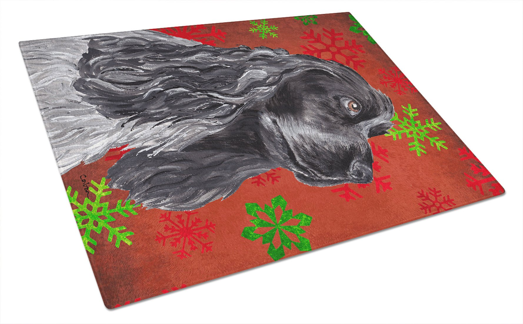 Cocker Spaniel Red Snowflake Christmas Glass Cutting Board Large by Caroline's Treasures