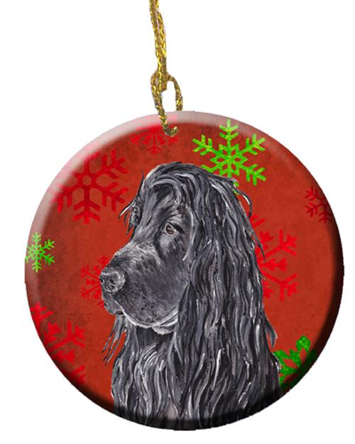 Black Cocker Spaniel Red Snowflakes Holiday Ceramic Ornament SC9583CO1 by Caroline's Treasures