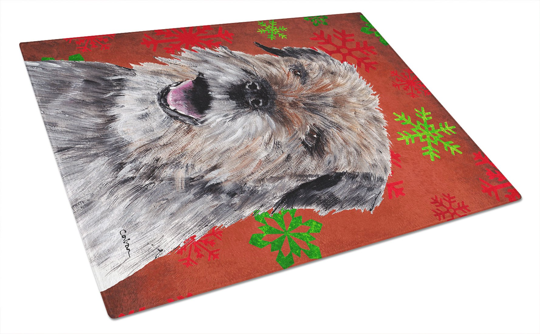 Border Terrier Red Snowflake Christmas Glass Cutting Board Large by Caroline's Treasures