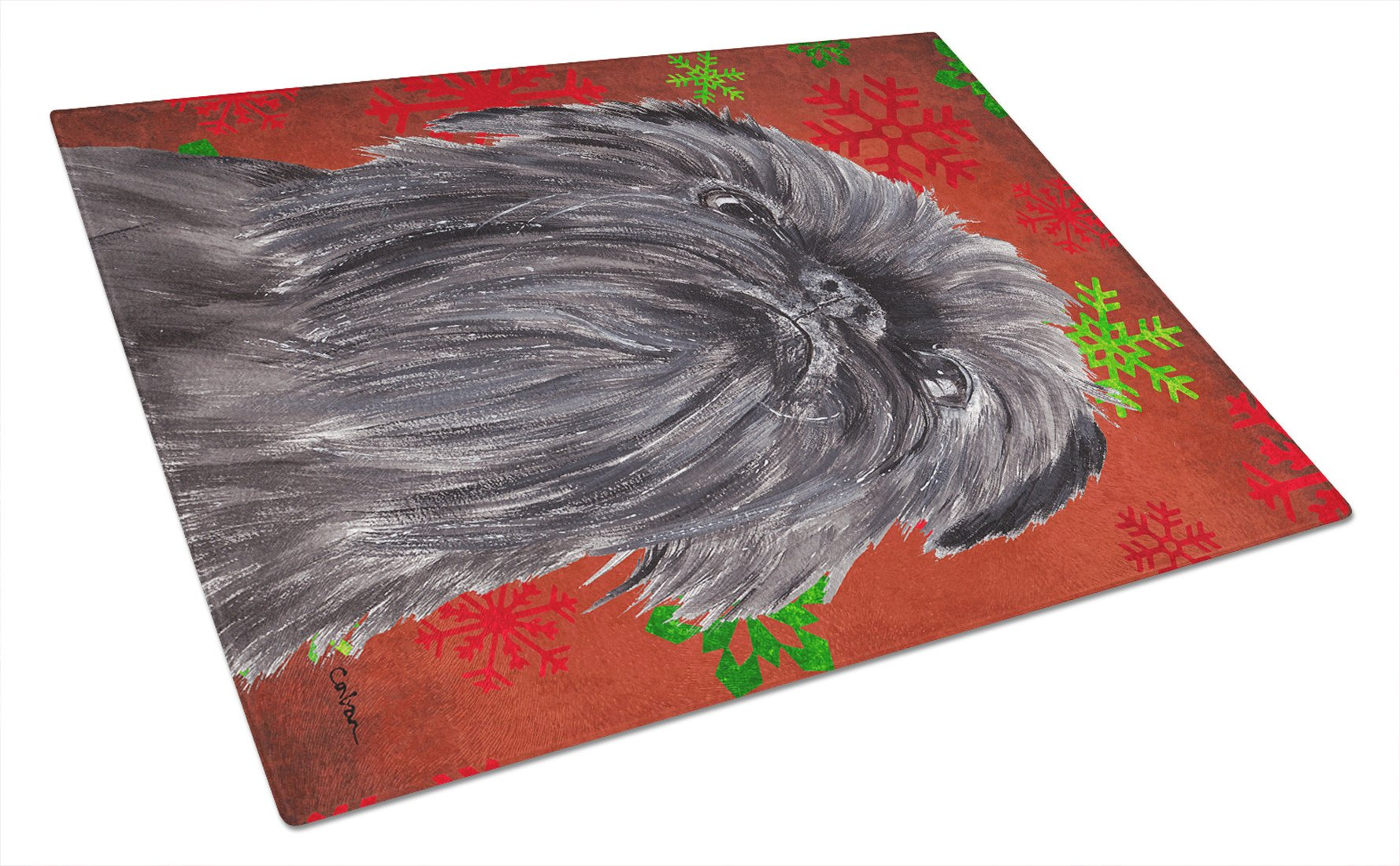 Brussels Griffon Red Snowflake Christmas Glass Cutting Board Large by Caroline's Treasures