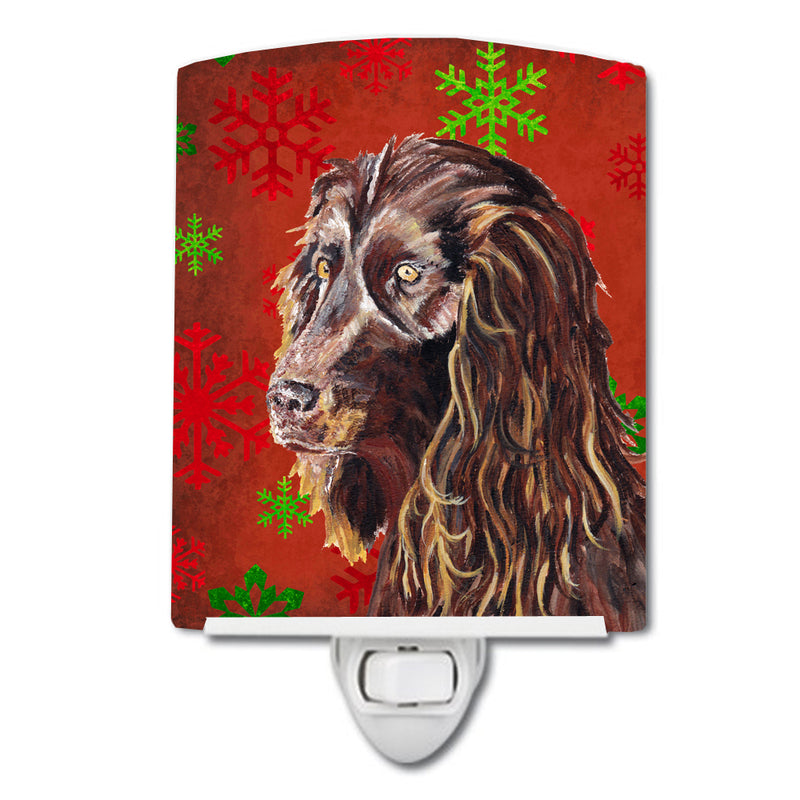 Buy this Boykin Spaniel Red Snowflakes Holiday Ceramic Night Light SC9588CNL