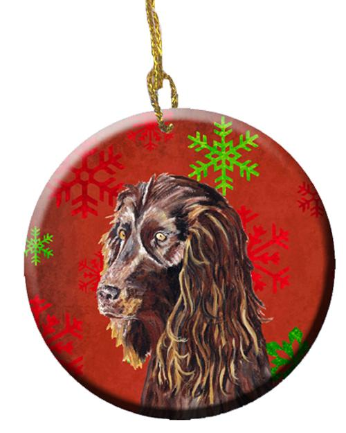 Buy this Boykin Spaniel Red Snowflakes Holiday Ceramic Ornament SC9588CO1