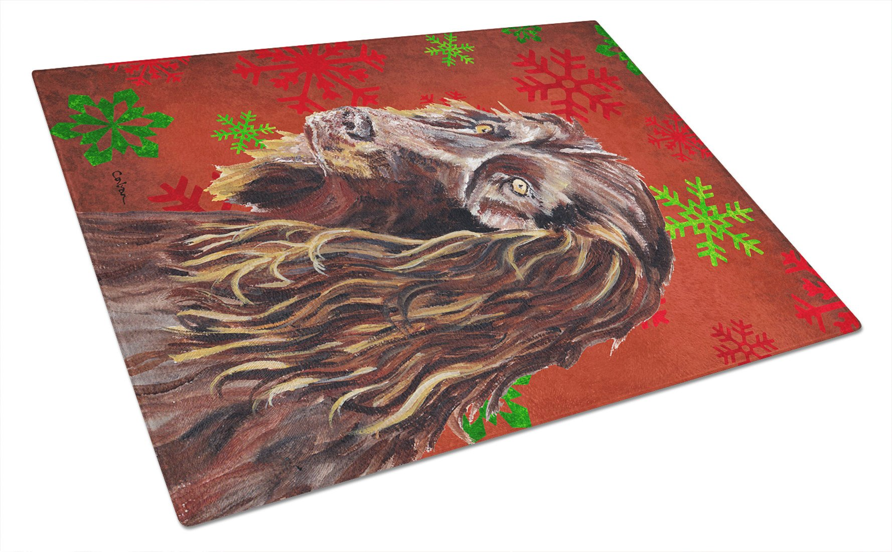 Boykin Spaniel Red Snowflake Christmas Glass Cutting Board Large by Caroline's Treasures
