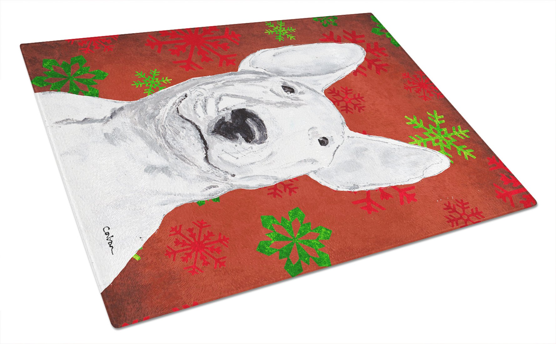 Bull Terrier Red Snowflake Christmas Glass Cutting Board Large by Caroline's Treasures