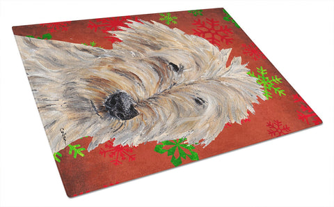 Buy this Goldendoodle Red Snowflake Christmas Glass Cutting Board Large