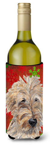 Buy this Goldendoodle Red Snowflake Christmas Wine Bottle Beverage Insulator Beverage Insulator Hugger