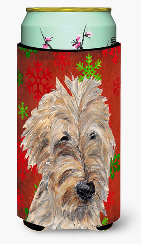 Buy this Goldendoodle Red Snowflake Christmas Tall Boy Beverage Insulator Beverage Insulator Hugger