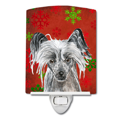 Buy this Chinese Crested Red Snowflakes Holiday Ceramic Night Light SC9592CNL