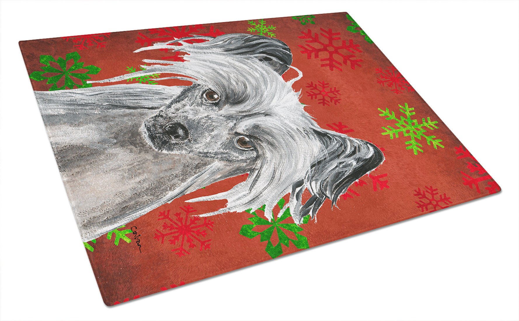 Chinese Crested Red Snowflake Christmas Glass Cutting Board Large by Caroline's Treasures