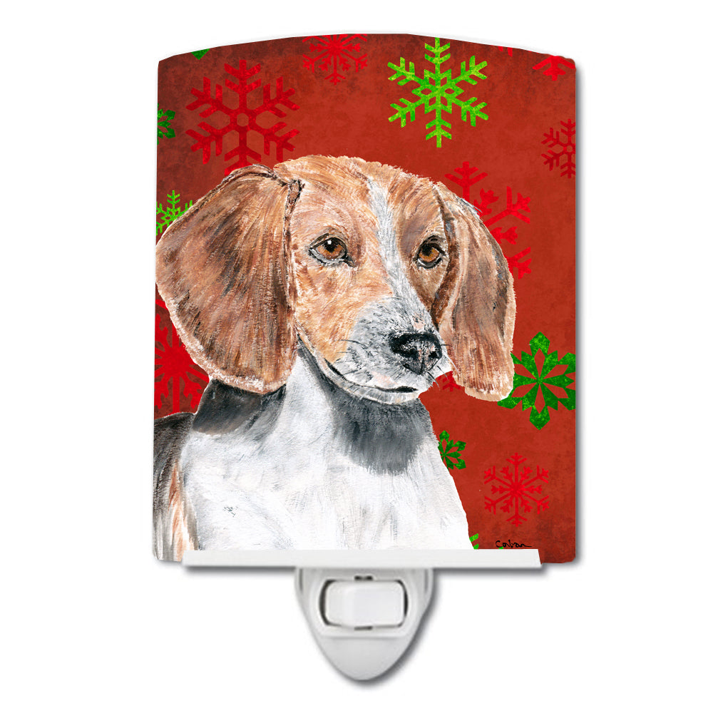 English Foxhound Red Snowflakes Holiday Ceramic Night Light SC9593CNL by Caroline's Treasures