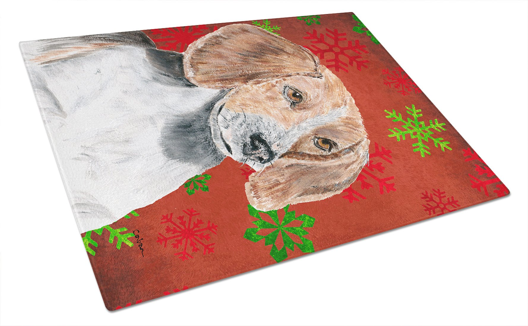 English Foxhound Red Snowflake Christmas Glass Cutting Board Large by Caroline's Treasures