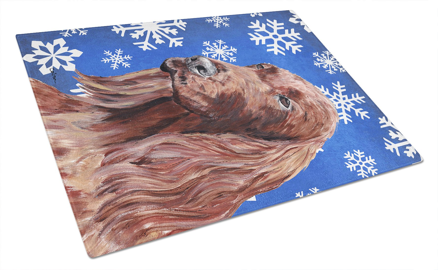 Irish Setter Blue Snowflake Winter Glass Cutting Board Large by Caroline's Treasures