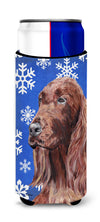 Irish Setter Blue Snowflake Winter Ultra Beverage Insulators for slim cans by Caroline's Treasures