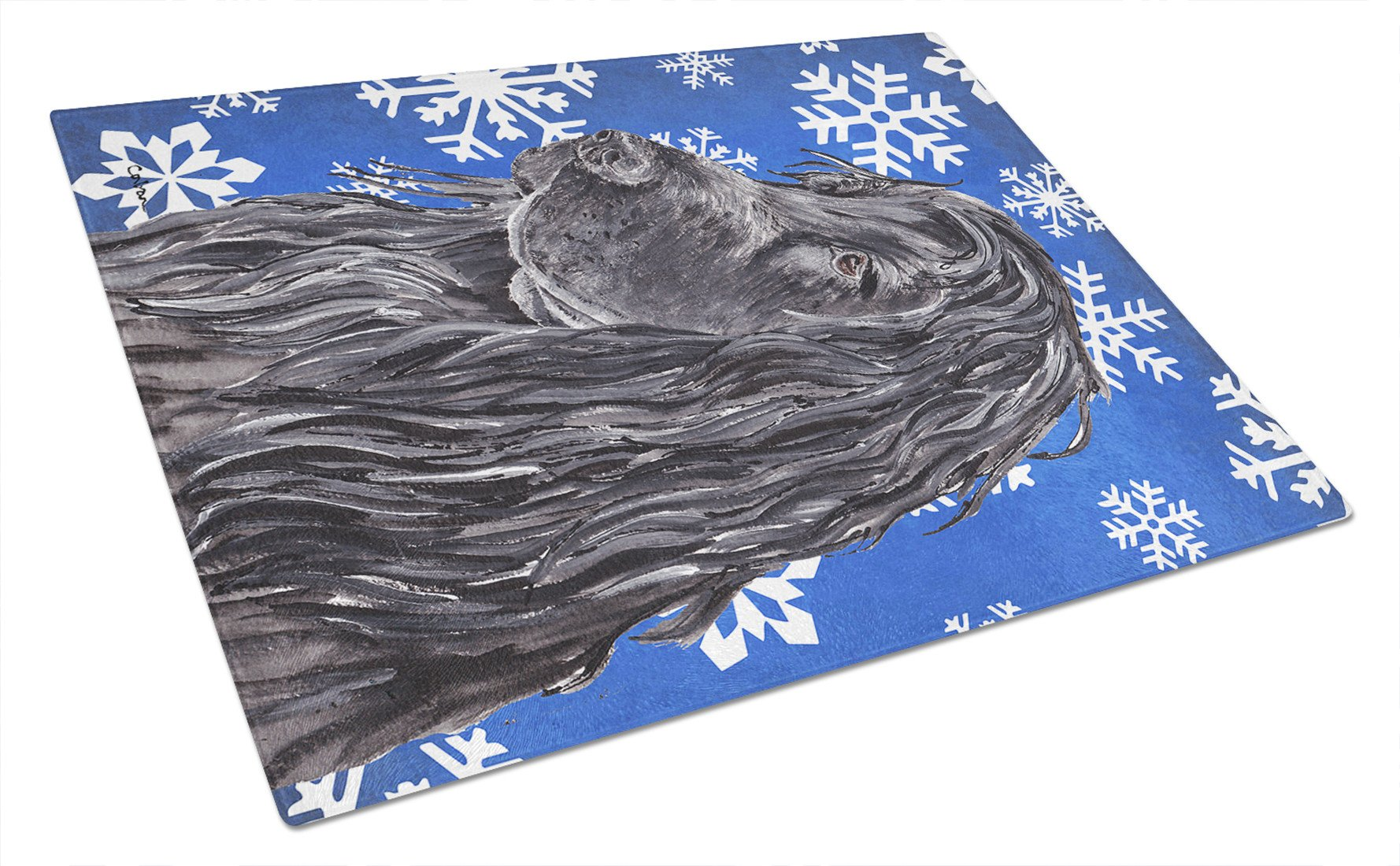 English Cocker Spaniel Blue Snowflake Winter Glass Cutting Board Large by Caroline's Treasures