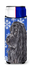English Cocker Spaniel Blue Snowflake Winter Ultra Beverage Insulators for slim cans by Caroline's Treasures