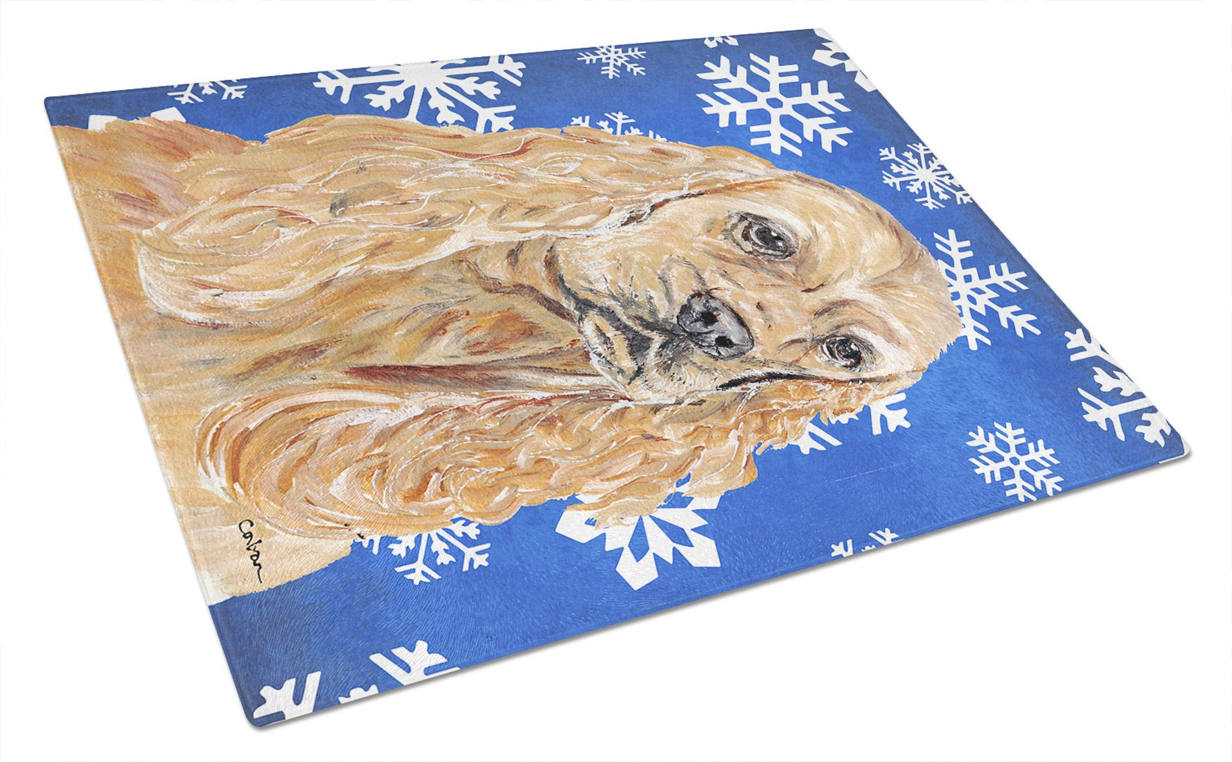 Cocker Spaniel Blue Snowflake Winter Glass Cutting Board Large by Caroline's Treasures