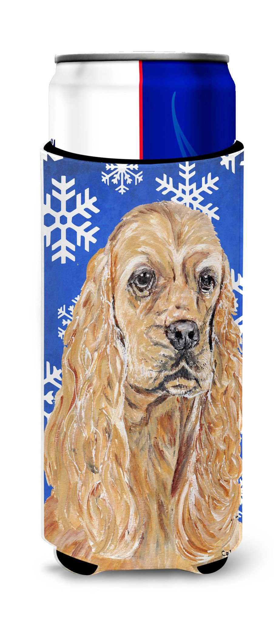 Cocker Spaniel Blue Snowflake Winter Ultra Beverage Insulators for slim cans by Caroline's Treasures