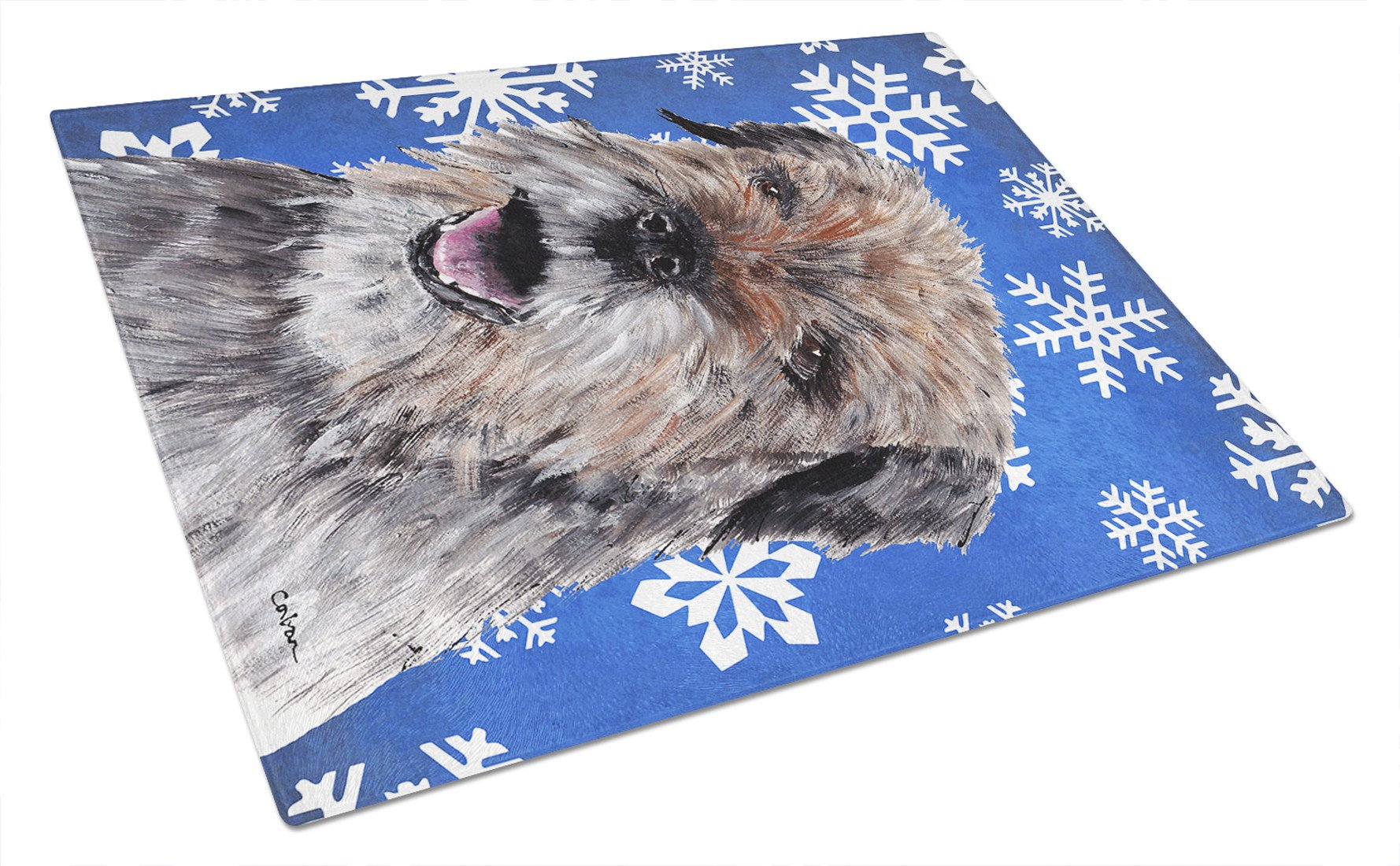 Border Terrier Blue Snowflake Winter Glass Cutting Board Large by Caroline's Treasures