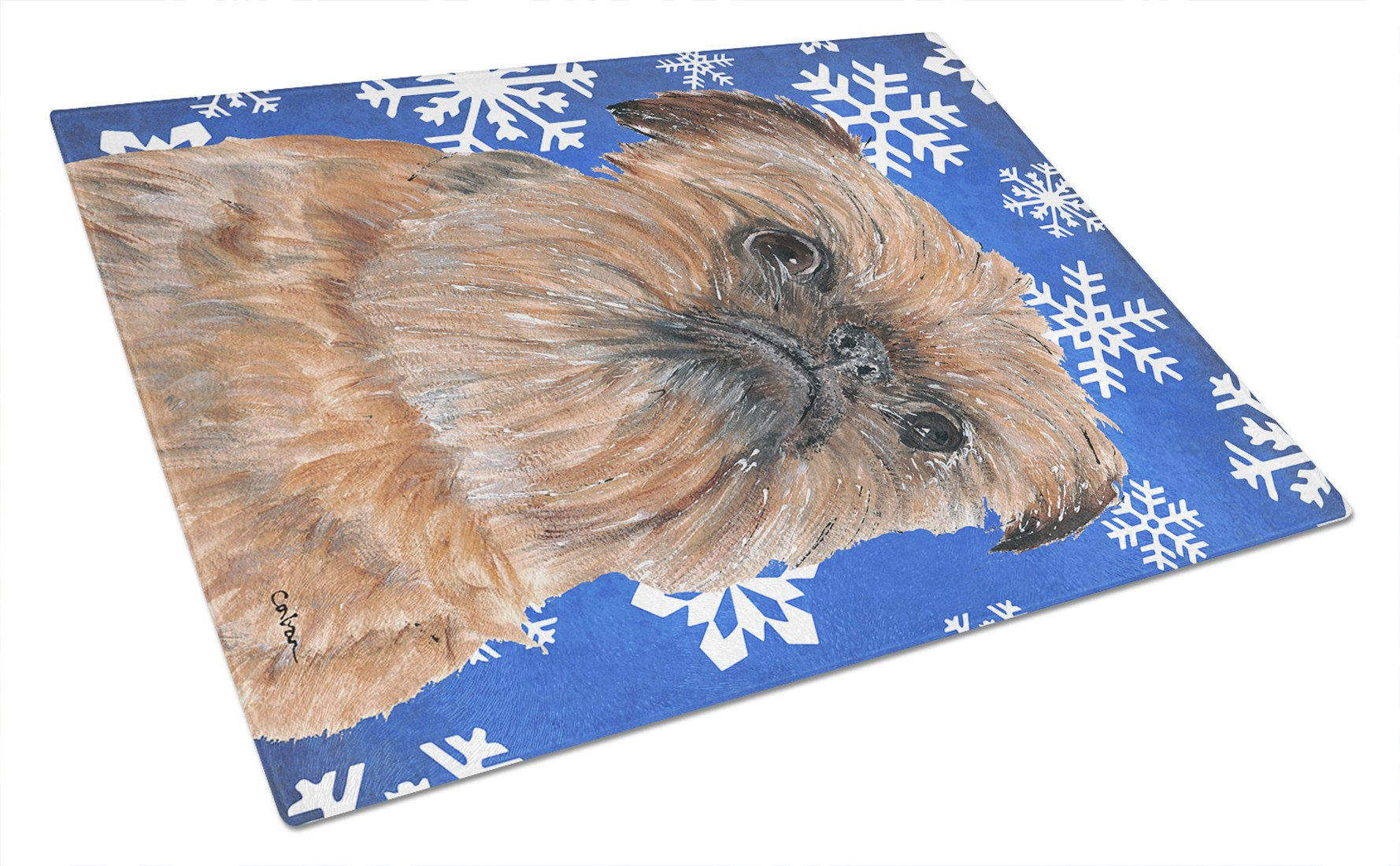 Brussels Griffon Blue Snowflake Winter Glass Cutting Board Large by Caroline's Treasures