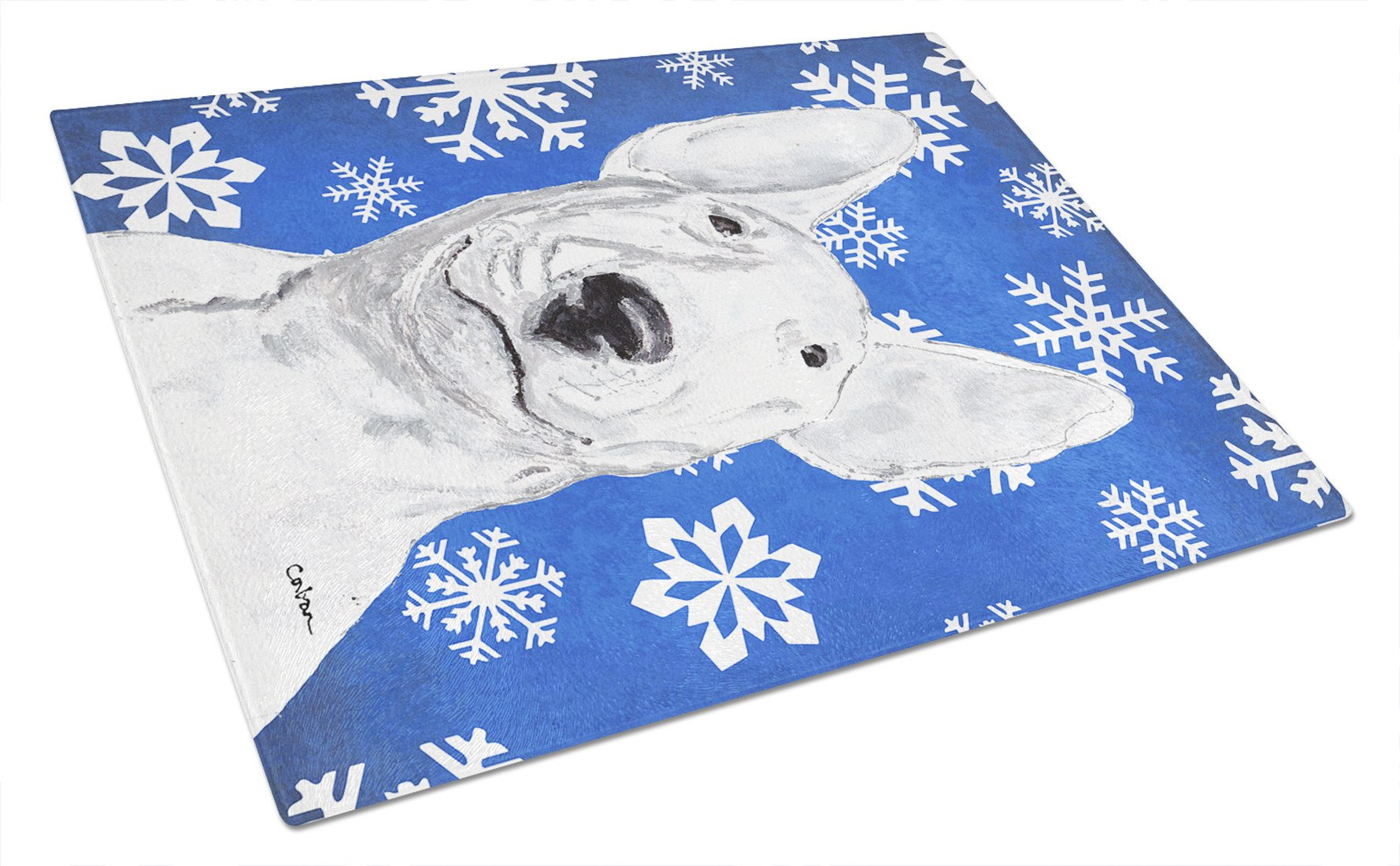 Bull Terrier Blue Snowflake Winter Glass Cutting Board Large by Caroline's Treasures