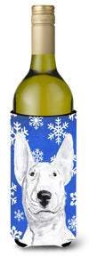 Bull Terrier Blue Snowflake Winter Wine Bottle Beverage Insulator Beverage Insulator Hugger by Caroline's Treasures