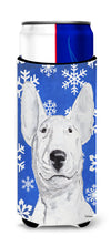 Bull Terrier Blue Snowflake Winter Ultra Beverage Insulators for slim cans by Caroline's Treasures
