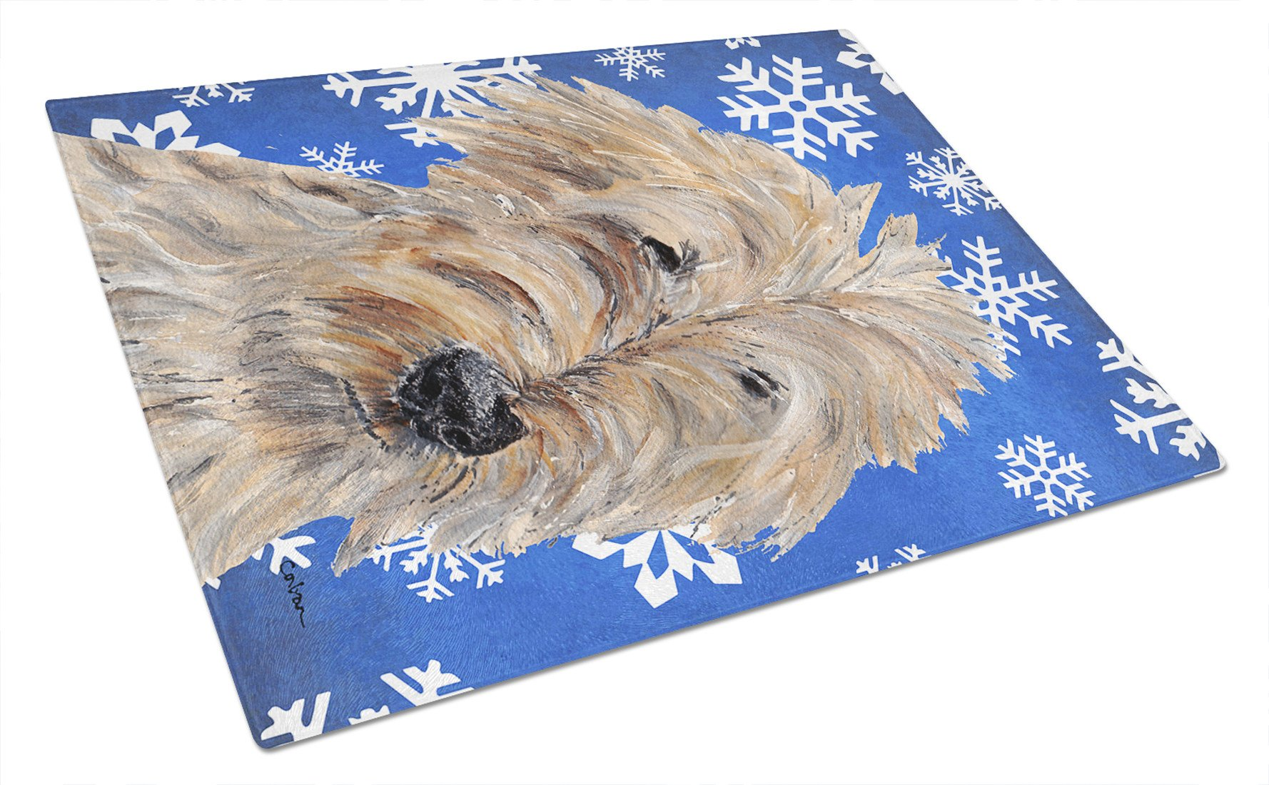 Goldendoodle Blue Snowflake Winter Glass Cutting Board Large by Caroline's Treasures