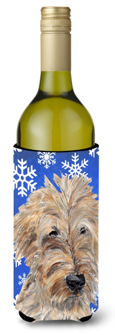 Buy this Goldendoodle Blue Snowflake Winter Wine Bottle Beverage Insulator Beverage Insulator Hugger