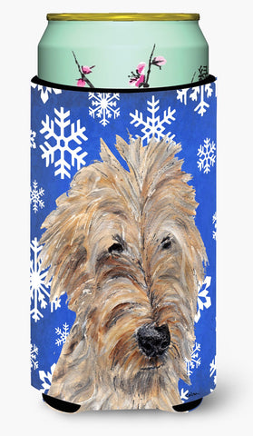 Buy this Goldendoodle Blue Snowflake Winter Tall Boy Beverage Insulator Beverage Insulator Hugger