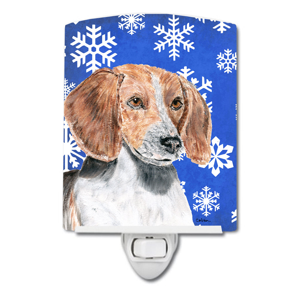 English Foxhound Winter Snowflakes Ceramic Night Light SC9607CNL by Caroline's Treasures