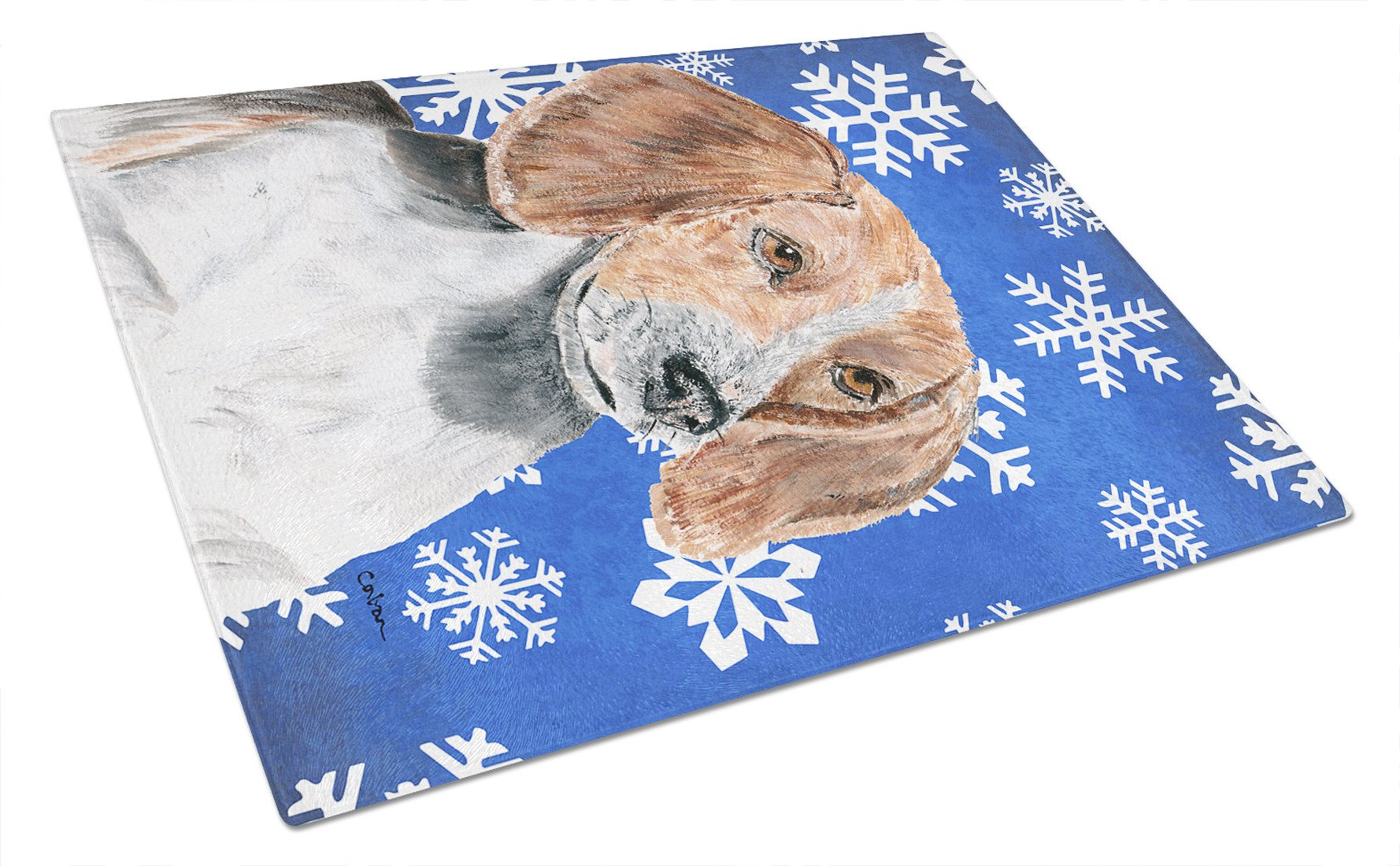 English Foxhound Blue Snowflake Winter Glass Cutting Board Large by Caroline's Treasures