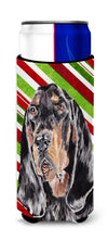 Coonhound Candy Cane Christmas Ultra Beverage Insulators for slim cans by Caroline's Treasures